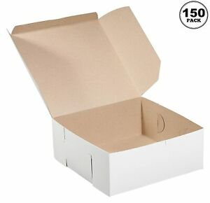 150 Pack White Bakery Pastry Boxes 6 X 6 X 3 Inches