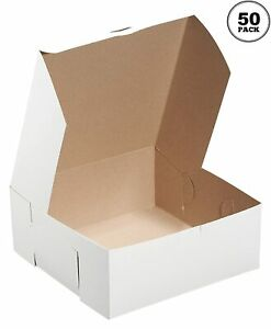 50 Pack White Bakery Pastry Boxes 6 X 6 X 4 Inches