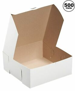 500 Pack White Bakery Pastry Boxes 6 X 6 X 4 Inches