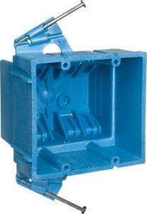 Carlon 3 7 8 In Rectangle Thermoplastic 2 Gang Outlet Box Blue