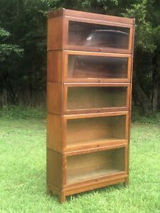 6 Antique Arts Crafts Oak Barrister Bookcase