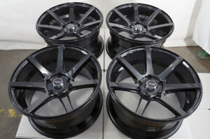 17x9 5x114 3 Wheels Ford Mustang Accord Civic Is300 Corolla Camry Black Rims 4