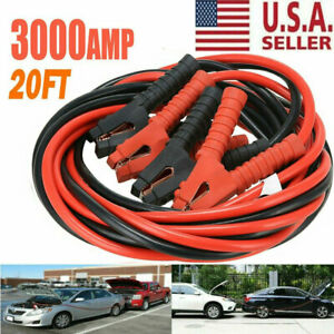 3000amp Booster Cables 0 Gauge Jumper Leads Heavy Duty Car Van Clamps Start 20ft