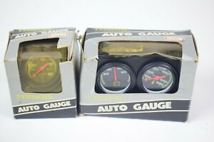 Set Of Vintage Trisco Auto Gauges Temp Battery Oil W 1513 W 1512 Streetrod