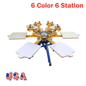 Usa 6 Color 6 Station Screen T shirt Printer Printing Machine Press Carousel