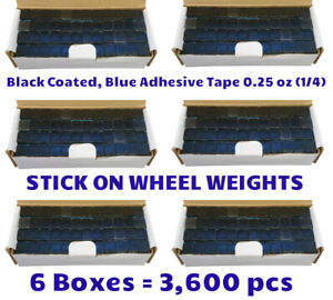 6 Boxes Black Coated Wheel Weights 0 25 1 4 Oz Stick On W Blue Tape 3600 Pcs