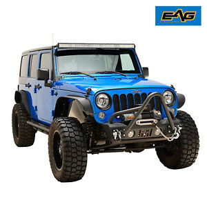 Eag Stubby Front Bumper Black With Stinger Guard Fit For 07 18 Jeep Jk Wrangler