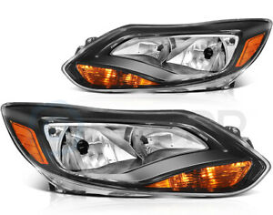 For 2012 2013 2014 Ford Focus S Se Headlights Headlamps Aftermarket Pair Black
