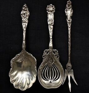 Antique Lily Sterling Silver Serving Pieces 3 Unknown American Makers Mark