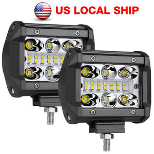 2x 4 200w Quad Row Led Pods Work Light Bar Flood Spot Driving Atv Off Road 4wd