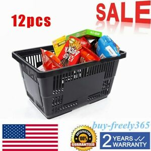 12 Pack Black Plastic Grocery Convenience Store Shopping Baskets Retail Tote Hot
