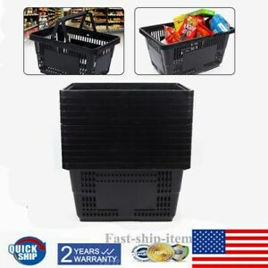 12 Black Plastic Shopping Baskets W handles Grocery Convenience Store Supplies