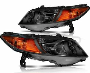 For 2006 2011 Honda Civic 2dr Black Headlights Amber Turn Signal Lamps Pair
