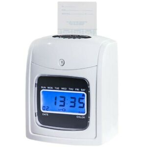 Time Clock Machine Electronic Punch Card Employee Recorder Safeguard Lcd Display