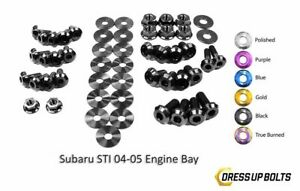 Dress Up Bolts For Wrx Ej205 Sti Ej257 2004 2005 Titanium Engine Bay Kit Black