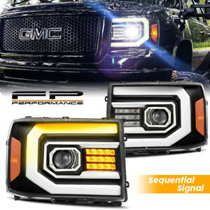 For 07 13 Sierra 1500 2500 Sequential Signal Drl Led Black Projector Headlight