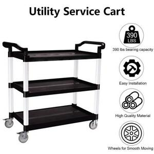 3 shelf Rolling Service Utility Push Cart 390 Lbs For Foodservice Restaurant