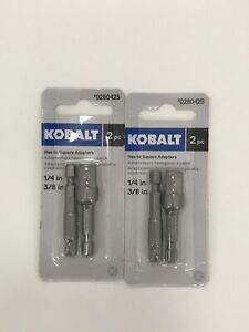 Kobalt 0280425 2 Piece Hex To Square Socket Adapters 1 4 3 8 Lot Of 2