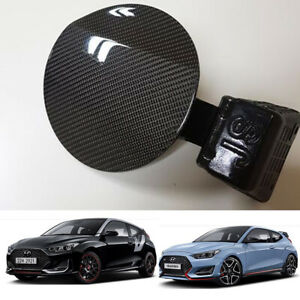 Real Carbon Fiber Fuel Cover Black Oem Parts For Hyundai Veloster 2018 2020