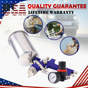 Hvlp Gravity Feed Auto Spray Gun W Regulator Gauge Paint Sprayer 2 5mm Nozzle