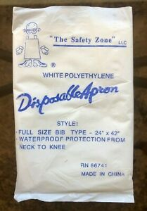 Disposable Plastic Restaurant Aprons 24 X 42 Box Of 100 White Safety Zone New
