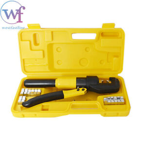 10 Ton Hydraulic Crimper Crimping Tool w 8 Dies Wire Battery Cable Lug Termina