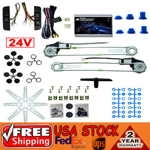 Universal 2 Door Electric Power Window Conversion Kit Roll Up Switches 24v Car