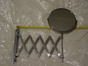 Vintage 2 Sided Magnifier Wall Mount Scissor Accordion Mirror For Lamp Light