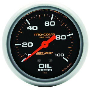 Autometer Pro comp 2 5 8 Liquid Filled Mechanical Oil Pressure Gauge 100 Psi
