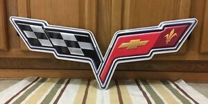 Chevrolet Corvette Sting Ray Vintage Style Metal Garage Large Chevy Gas Oil Wall