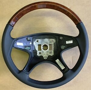 Mercedes Benz Steering Wheel Burred Walnut Wood Leather Exclusive Oem Accessory