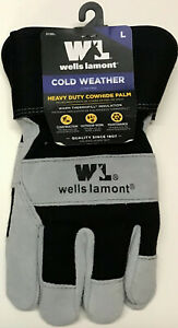 Wells Lamont Heavy Duty Cowhide Palm Warm Thermofill Insulation Work Gloves Lg