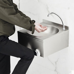 Stainless Steel Sink Commercial Hand Washing Basin With Hot cold Mixer Faucet