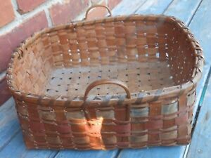 Great Antique Native American Splint 2 Handled Basket With Paint Decoration