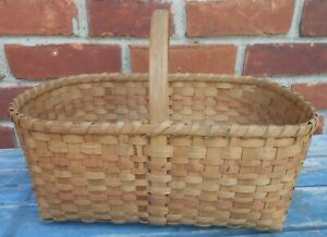 Very Good Antique Splint Handled Basket With Traces Of Paint Decoration
