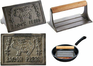 Hic Rectangular Bacon Press And Steak Weight Heavyweight Cast Iron With