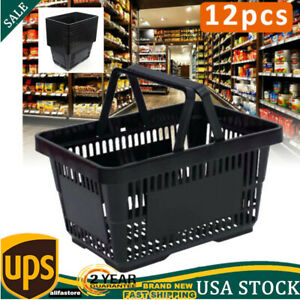 Shopping Basket Set Of 12 Black Plastic Retail Store Tote Supermarket Basket