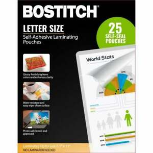 Bostitch Self adhesive Laminating Pouches 8 5 X 11 Pack Of 25 Self Seal