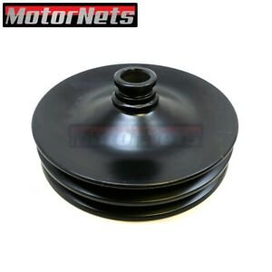 Black Saginaw Press On Power Steering Pulley Gm Chevy Double 2 Groove 3 4 Sbc