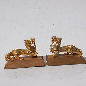 Vintage Small Pair Foo Dog Guardian Brass Plated Figurines Asian Art Wood Base