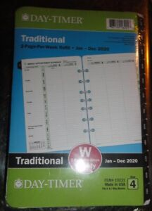 Day timer Traditional 2020 2 page per week Planner Refill Sz4 5 5 X 8 25
