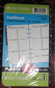 Day timer 2020 2 page per week Planner Refill Sz 3 3 75 x6 75