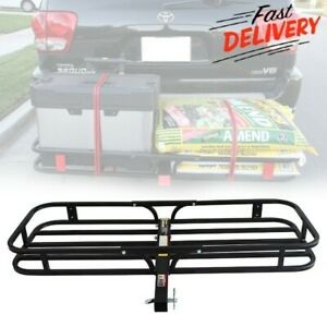 Heavy Duty Hitch Mount Cargo Carrier Rack Folding Trailer Basket Luggage Holder