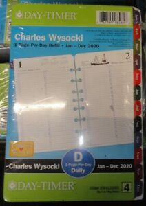 Day timer Charles Wysocki 2020 1 page per day Planner Refill Sz 4 5 5 X 8 25