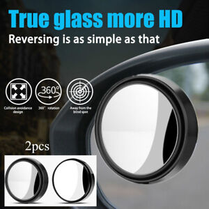 Car 360 Degree Frame Small Round Side Blindspot Rearview Parking Mirror Black