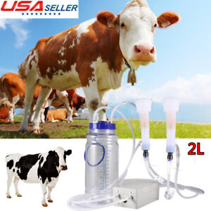2l Portable Vacuum Impulse Pump Electric Milking Machine For Cow Goat Milker Us