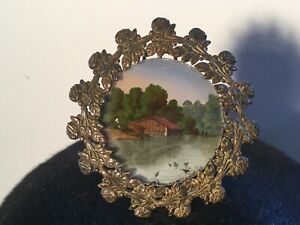Antique Miniature Roses Picture Frame W Reverse Painting Of Barn On Pond W Ducks