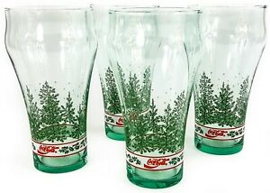 Vintage Coca Cola Glass Set of 4 Holiday Holly Berry Band w Pine Trees & Snow