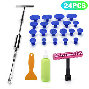 24pcs Car Paintless Dent Repair Removal Kits Slide Hammer T Bar Glue Puller Tabs