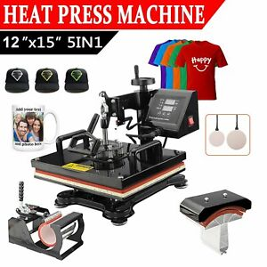 5 In 1 T shirt Heat Press Machine Mug Coaster Hat Sublimation Printing 12 x15